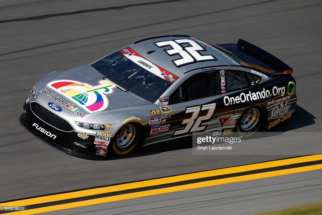 Bobby Labonte, driver of the #32 OneOrlando Fund Ford, practices for the NASCAR Sprint Cup Series Coke Zero 400 at Daytona International Speedway on July 1, 2016 in Daytona Beach, Florida.
