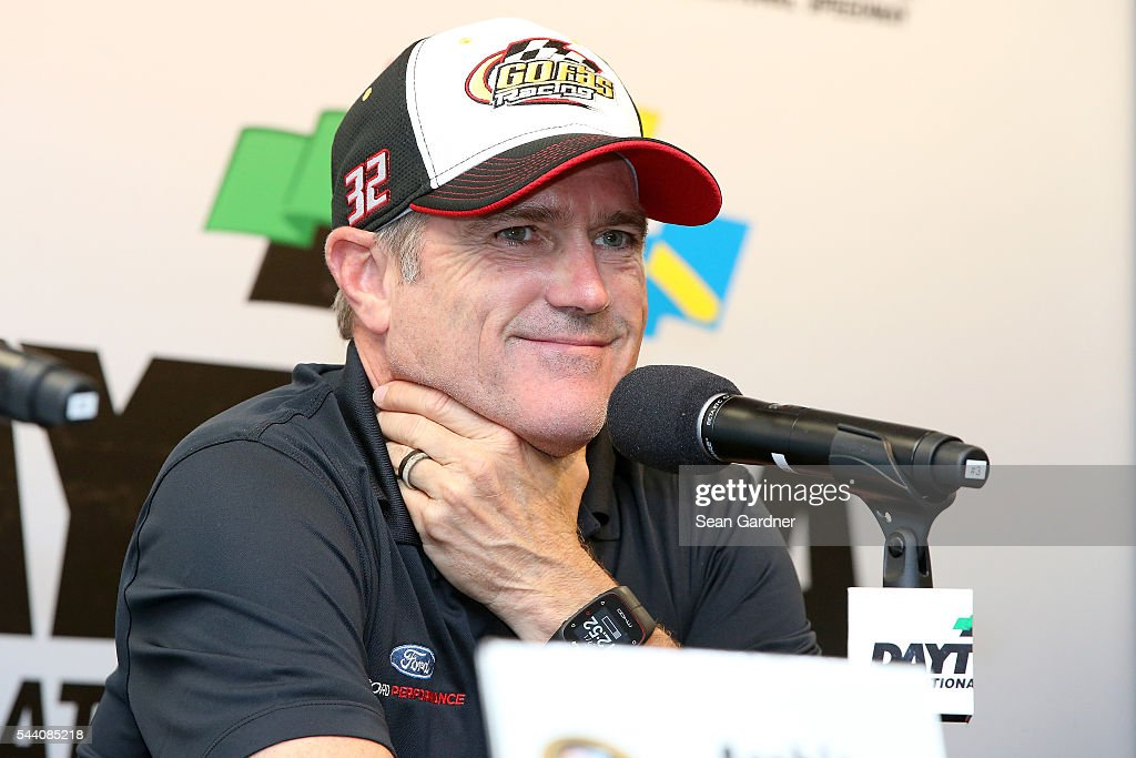 Bobby Labonte, driver of the #32 OneOrlando Fund Ford, speaks to the media during a press conference after practice for the NASCAR Sprint Cup Series Coke Zero 400 at Daytona International Speedway on July 1, 2016 in Daytona Beach, Florida.