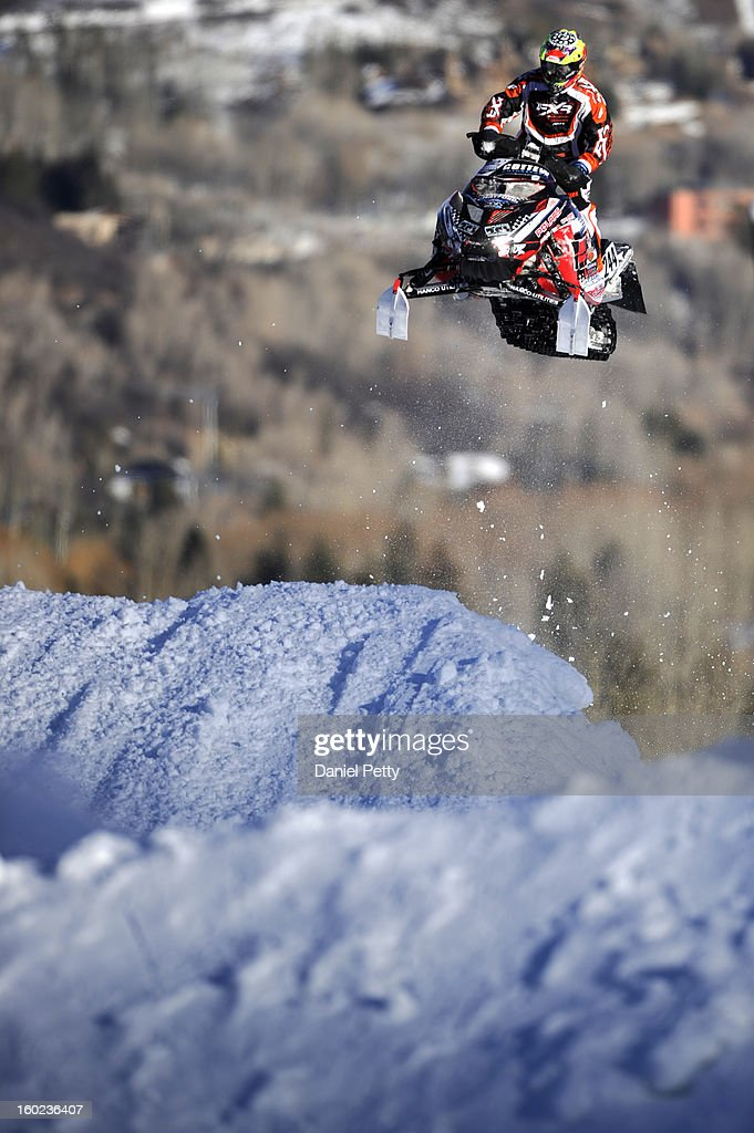 Bobby LePage, of Duluth, Minnesota, races during the snowmobile SnoCross final at Winter X Games Aspen 2013 at Buttermilk Mountain on Jan. 27, 2013, in Aspen, Colorado. LePage finished 12th overall.