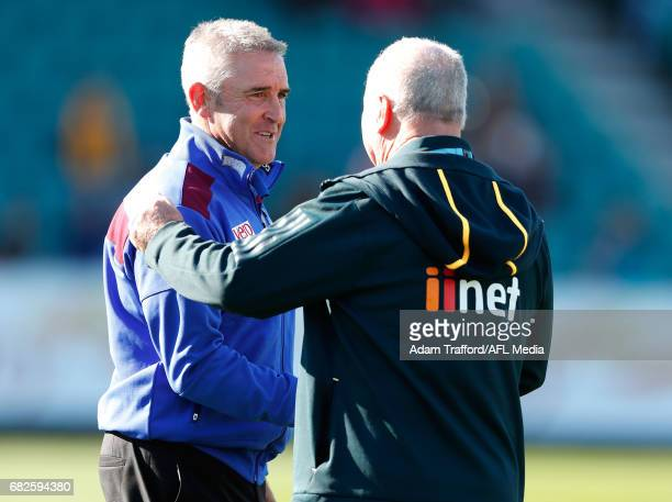 Bobby Lovegrove Property Steward at the Hawks chats to former GM at Hawthorn and current Senior Coach of the Lions Chris Fagan during the 2017 AFL...