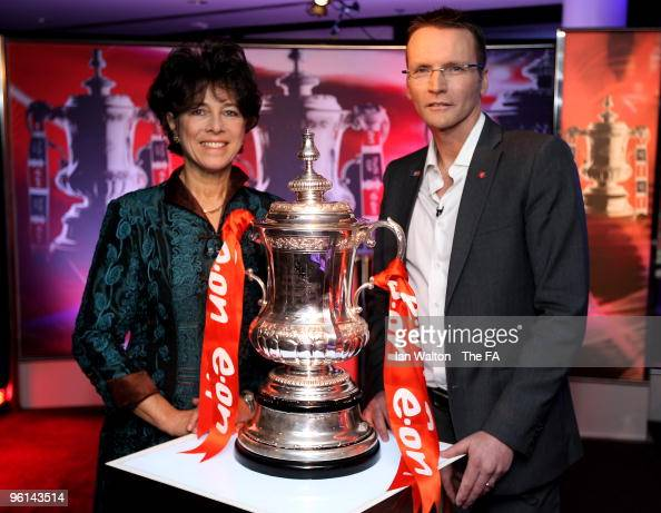 Bobby Moore's widow Stephanie and FA Cup Finalist Geoff Thomas pose for pictures during the FA Cup 5th Round Draw at Wembley Stadium on January 24...