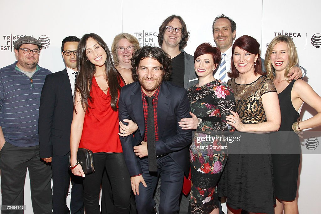 Bobby Moynihan, Gil Ozeri, Catherine Reitman, Marceline Hugot, Adam Pally, Don Argott, Sheena M. Joyce, Peter Grosz, Kate Flannery, and Mary Grill attend the premiere of 'Slow Learners' during the 2015 Tribeca Film Festival at Spring Studio on April 20, 2015 in New York City.