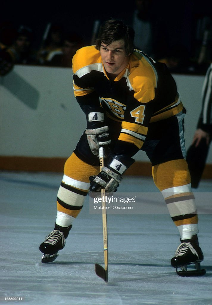 Bobby Orr of the Boston Bruins waits for the faceoff during an NHL game circa 1973
