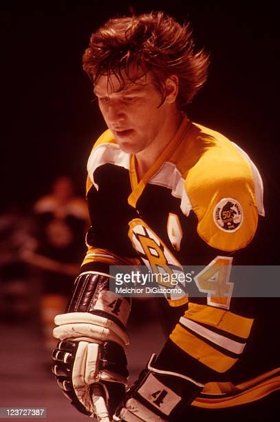 Bobby Orr of the Boston Bruins warms up before an NHL game circa 1975