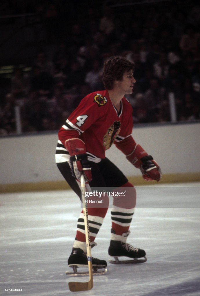 <a gi-track='captionPersonalityLinkClicked' href=/galleries/search?phrase=Bobby+Orr&family=editorial&specificpeople=204573 ng-click='$event.stopPropagation()'>Bobby Orr</a> #4 of the Chicago Blackhawks skates on the ice during an NHL game against the New York Islanders on October 9, 1976 at the Nassau Coliseum in Uniondale, New York.