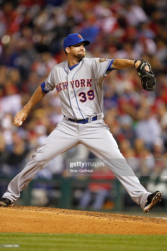 <a gi-track='captionPersonalityLinkClicked' href=/galleries/search?phrase=Bobby+Parnell&family=editorial&specificpeople=5530596 ng-click='$event.stopPropagation()'>Bobby Parnell</a> #39 of the New York Mets throws a pitch during the game against the Philadelphia Phillies at Citizens Bank Park on April 13, 2012 in Philadelphia, Pennsylvania. The Mets won 5-2.