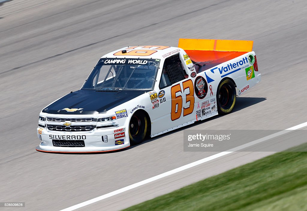 Bobby Pierce, driver of the #63 Champion Oil/Vatterott College Chevrolet, practices for the NASCAR Camping World Truck Series 16th Annual Toyota Tundra 250 on May 05, 2016 in Kansas City, Kansas.