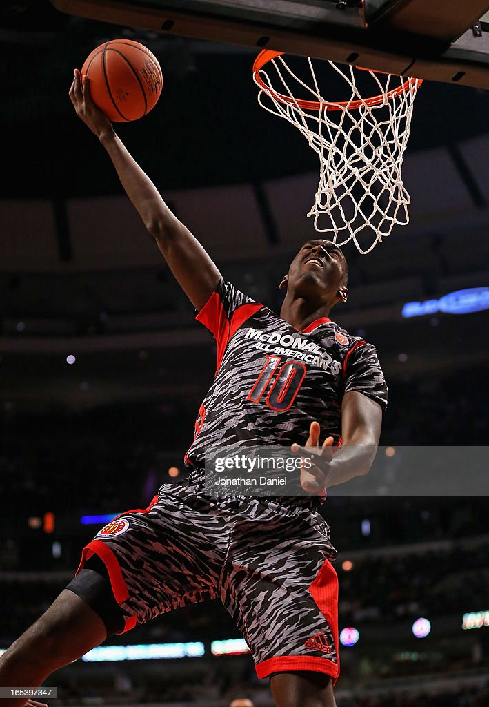 Bobby Portis Jr. #10 of the West goes up for a shot against the East during the 2013 McDonald's All American game at United Center on April 3, 2013 in Chicago, Illinois.