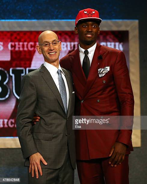 Bobby Portis meets Commissioner Adam Silver after being selected 22nd overall by the Chicago Bulls in the First Round of the 2015 NBA Draft at the...