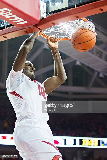 Bobby Portis of the Arkansas Razorbacks dunks the ball during a game against the Texas AM Aggies at Bud Walton Arena on February 24 2015 in...
