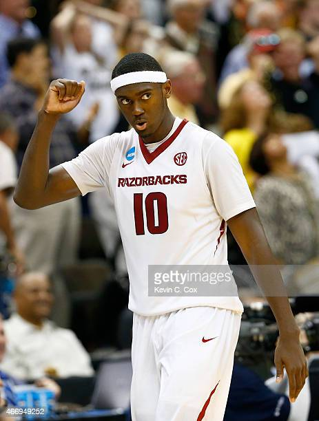 Bobby Portis of the Arkansas Razorbacks reacts after defeating the Wofford Terriers 5653 during the second round of the 2015 NCAA Men's Basketball...