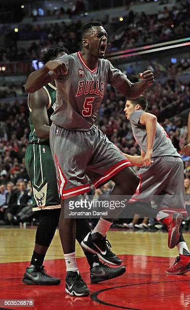 Bobby Portis of the Chicago Bulls celebrates hitting a second chance shot against the Milwaukee Bucks at the United Center on January 5 2016 in...