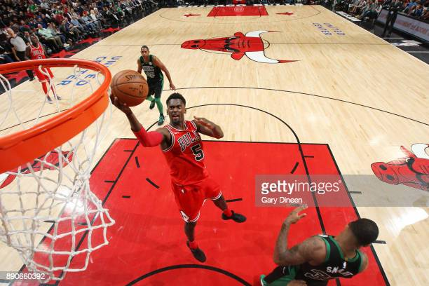 Bobby Portis of the Chicago Bulls drives to the basket against the Boston Celtics on December 11 2017 at the United Center in Chicago Illinois NOTE...