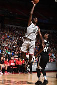 Bobby Portis of the Chicago Bulls goes to the basket against Coty Clarke of the Minnesota Timberwolves during the 2016 NBA Las Vegas Summer League on...