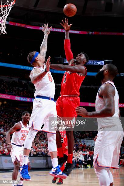 Bobby Portis of the Chicago Bulls goes to the basket against the New York Knicks on December 9 2017 at the United Center in Chicago Illinois NOTE TO...