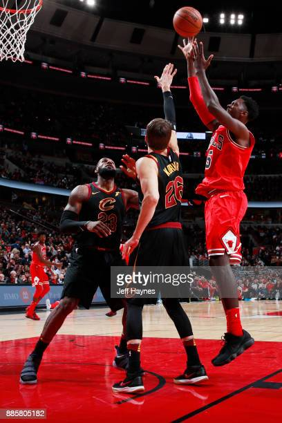 Bobby Portis of the Chicago Bulls goes to the basket against the Cleveland Cavaliers on December 4 2017 at the United Center in Chicago Illinois NOTE...