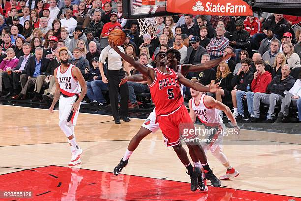 Bobby Portis of the Chicago Bulls goes to the basket against the Portland Trail Blazers on November 15 2016 at the Moda Center in Portland Oregon...