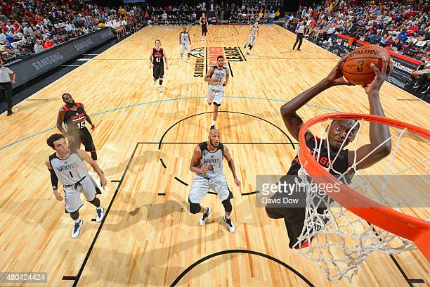 Bobby Portis of the Chicago Bulls goes up for a dunk against the Minnesota Timberwolves during the 2015 NBA Las Vegas Summer League game on July 11...
