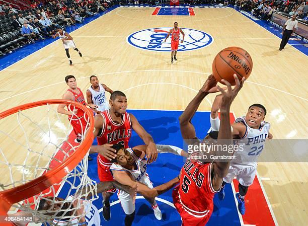 Bobby Portis of the Chicago Bulls goes up with the ball against the Philadelphia 76ers at Wells Fargo Center on November 9 2015 in Philadelphia...