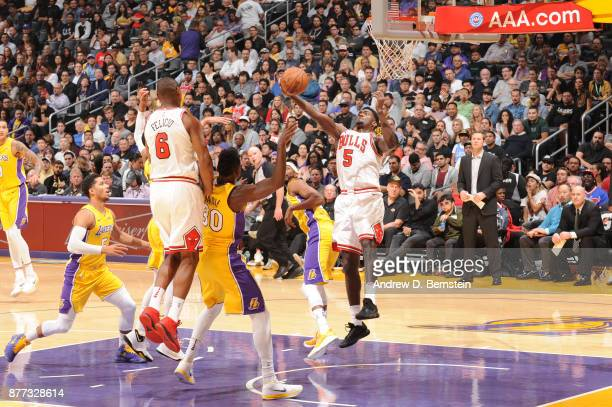 Bobby Portis of the Chicago Bulls grabs the rebound against the Los Angeles Lakers on November 21 2017 at STAPLES Center in Los Angeles California...