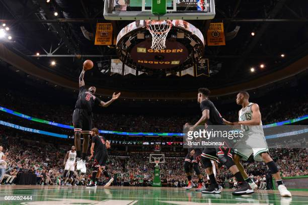 Bobby Portis of the Chicago Bulls grabs the rebound against the Boston Celtics during the Eastern Conference Quarterfinals of the 2017 NBA Playoffs...