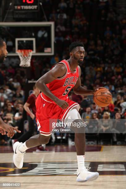 Bobby Portis of the Chicago Bulls handles the ball against the Cleveland Cavaliers during a preseason game on October 10 2017 at Quicken Loans Arena...