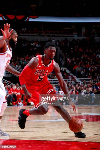 Bobby Portis of the Chicago Bulls handles the ball against the New York Knicks on December 9 2017 at the United Center in Chicago Illinois NOTE TO...