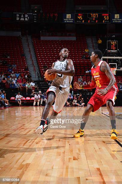 Bobby Portis of the Chicago Bulls handles the ball against the Cleveland Cavaliers during the 2016 NBA Las Vegas Summer League game on July 17 2016...