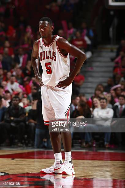 Bobby Portis of the Chicago Bulls looks on against the New Orleans Pelicans on October 12 2015 at the United Center in Chicago Illinois NOTE TO USER...
