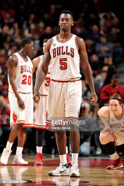 Bobby Portis of the Chicago Bulls looks on during the game against the Philadelphia 76ers on December 14 2015 at the United Center in Chicago...