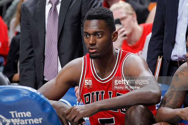 Bobby Portis of the Chicago Bulls looks on during the game against the Charlotte Hornets on Februay 8 2016 at Time Warner Cable Arena in Charlotte...