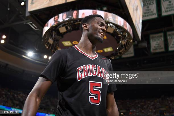 Bobby Portis of the Chicago Bulls looks on during the game against the Boston Celtics during the Eastern Conference Quarterfinals of the 2017 NBA...