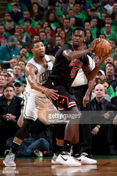 Bobby Portis of the Chicago Bulls looks to pass the ball against the Boston Celtics during Game Two of the Eastern Conference Quarterfinals of the...