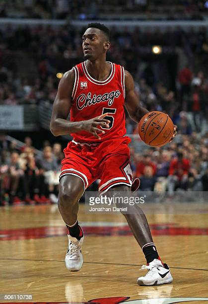 Bobby Portis of the Chicago Bulls moves against the Golden State Warriors at the United Center on January 20 2016 in Chicago Illinois The Warriors...