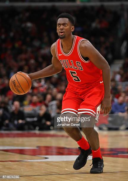 Bobby Portis of the Chicago Bulls moves against the Indiana Pacers at the United Center on November 10 2017 in Chicago Illinois The Pacers defeated...
