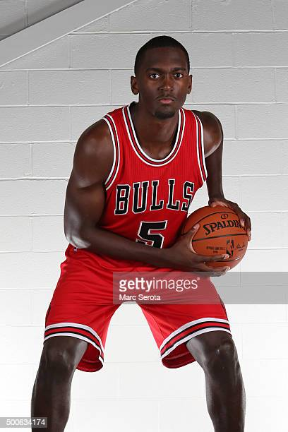 Bobby Portis of the Chicago Bulls poses for a portrait during the 2015 NBA rookie photo shoot on August 8 2015 at the Madison Square Garden Training...