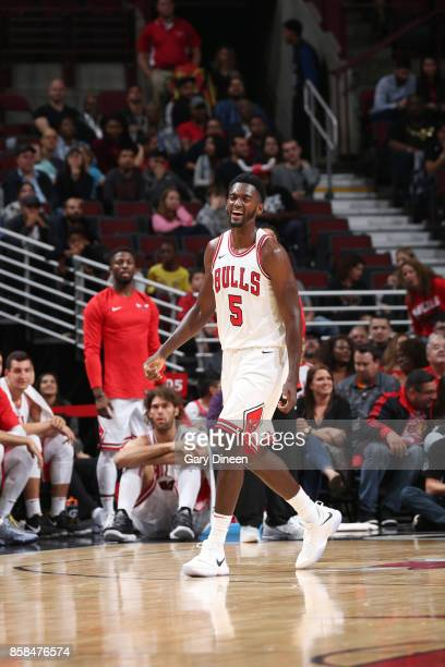 Bobby Portis of the Chicago Bulls reacts to a play against the Milwaukee Bucks during the preseason game on October 6 2017 at the United Center in...