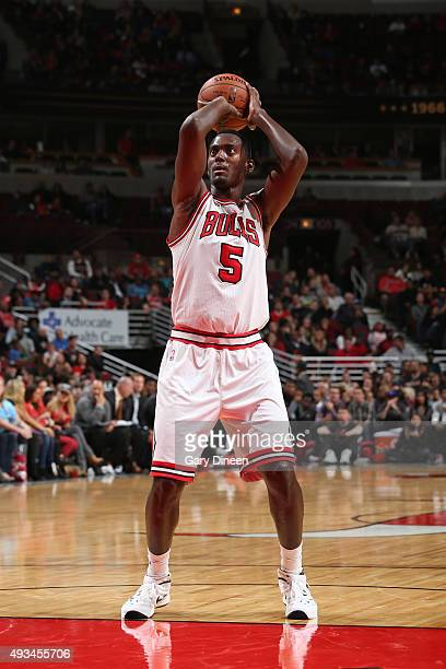 Bobby Portis of the Chicago Bulls shoots a foul shot against the Detroit Pistons during the preseason game on October 14 2015 at United Center in...