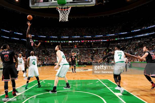 Bobby Portis of the Chicago Bulls shoots the ball against the Boston Celtics during the Eastern Conference Quarterfinals of the 2017 NBA Playoffs on...