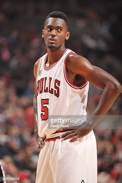 Bobby Portis of the Chicago Bulls stands on the court during the game against the Brooklyn Nets on December 21 2015 at the United Center in Chicago...