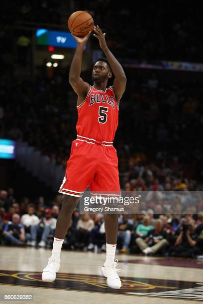 Bobby Portis of the Chicago Bulls takes a shot while playing the Cleveland Cavaliers during a pre season game at Quicken Loans Arena on October 10...