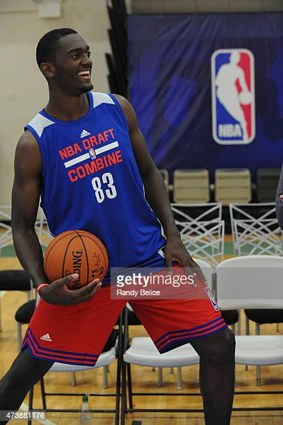Bobby Portis shares a laugh while stretching during the 2015 NBA Draft Combine on May 15 2015 at Quest Multiplex in Chicago Illinois NOTE TO USER...