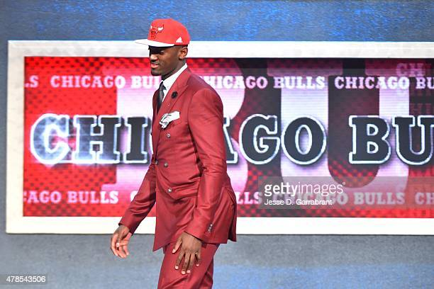 Bobby Portis the 22nd pick overall in the 2015 NBA Draft by the Chicago Bulls during the 2015 NBA Draft at the Barclays Center on June 25 2015 in the...