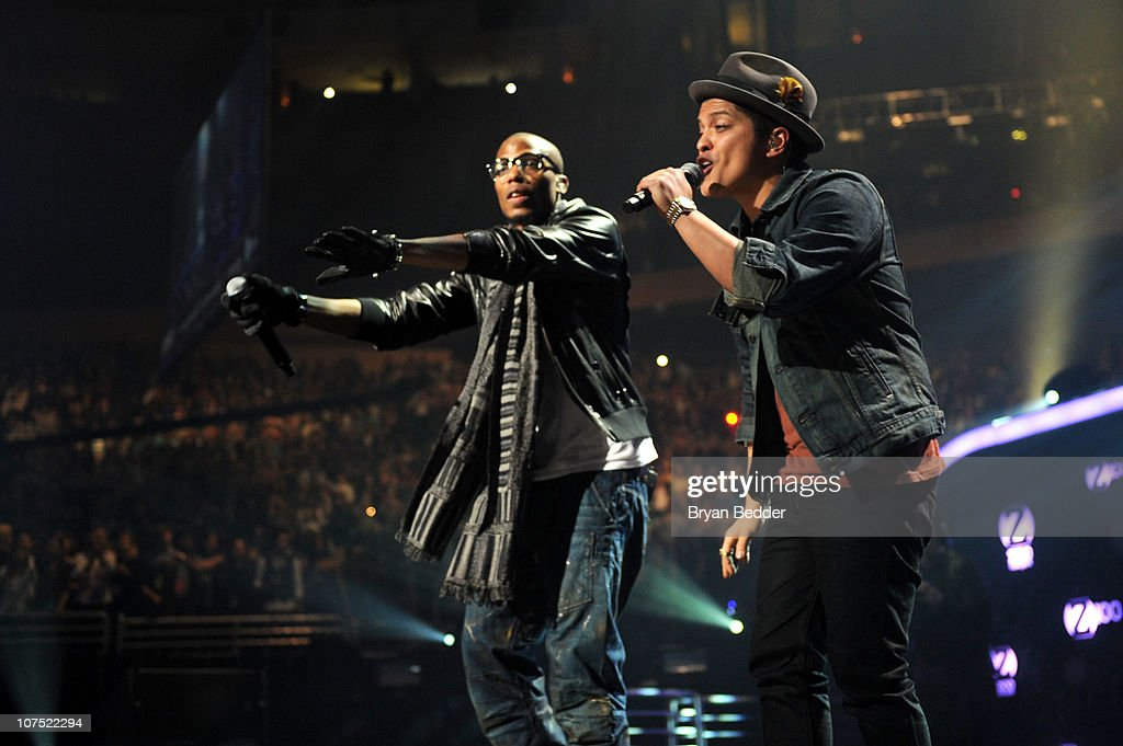 Bobby Ray Simmons of BoBand Bruno Mars perform during Z100's Jingle Ball 2010 at Madison Square Garden on December 10 2010 in New York City