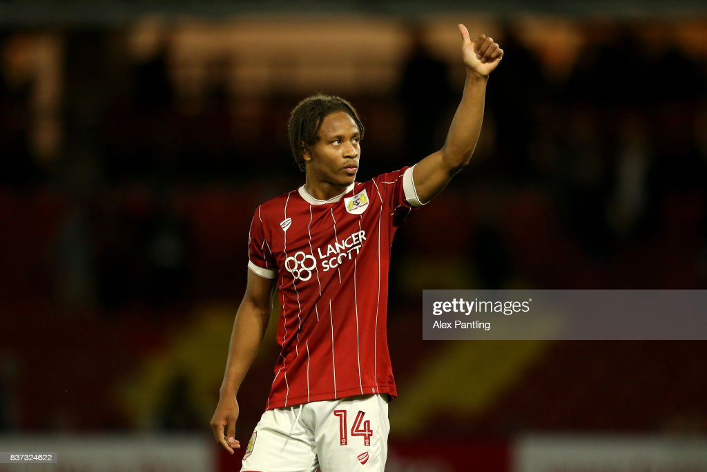 Bobby Reid of Bristol City celebrates at the final whistle during the Carabao Cup Second Round match between Watford and Bristol City at Vicarage Road on August 22, 2017 in Watford, England.