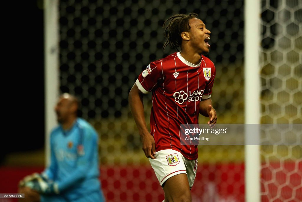 Bobby Reid of Bristol City celebrates scoring his sides second goal during the Carabao Cup Second Round match between Watford and Bristol City at Vicarage Road on August 22, 2017 in Watford, England.