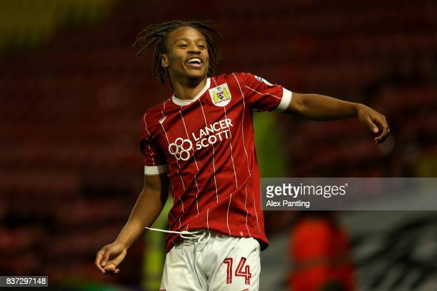 Bobby Reid of Bristol City celebrates scoring his team's second goal during the Carabao Cup Second Round match between Watford and Bristol City at...