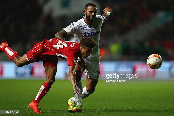Bobby Reid of Bristol City is challenged by Kyle Bartley of Leeds United during the Sky Bet Championship match between Bristol City and Leeds United...