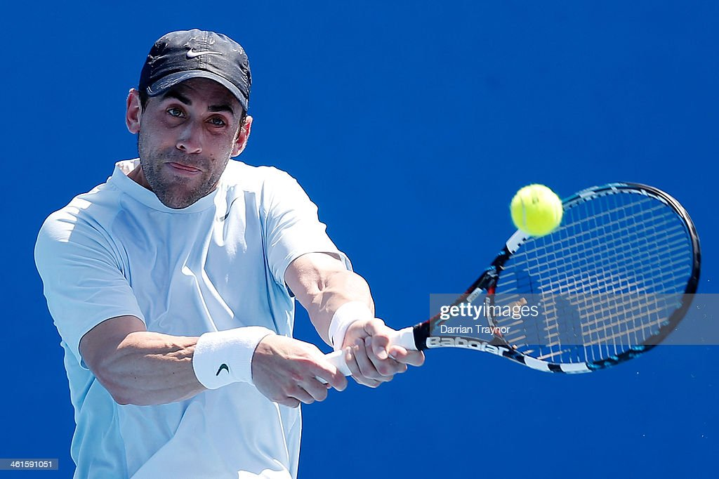 <a gi-track='captionPersonalityLinkClicked' href=/galleries/search?phrase=Bobby+Reynolds&family=editorial&specificpeople=194919 ng-click='$event.stopPropagation()'>Bobby Reynolds</a> of the USA plays a backhand during qualifying for the 2014 Australian Open at Melbourne Park on January 10, 2014 in Melbourne, Australia.