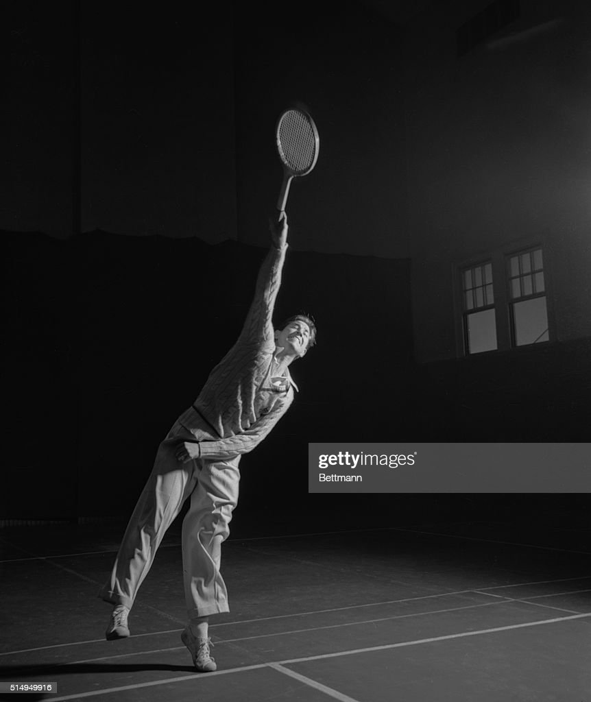 Bobby Riggs is shown serving as he tuned up for his debut as a Pro at Madison Square Garden